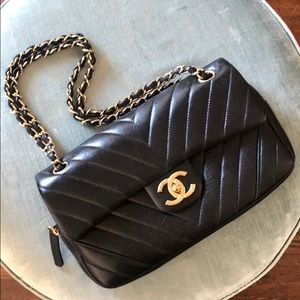 Chanel Black Chevron Easy Flap Bag
